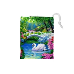 Swan Bird Spring Flowers Trees Lake Pond Landscape Original Aceo Painting Art Drawstring Pouches (small)