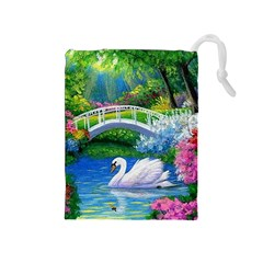 Swan Bird Spring Flowers Trees Lake Pond Landscape Original Aceo Painting Art Drawstring Pouches (medium)