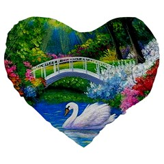 Swan Bird Spring Flowers Trees Lake Pond Landscape Original Aceo Painting Art Large 19  Premium Flano Heart Shape Cushions