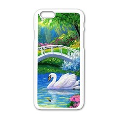 Swan Bird Spring Flowers Trees Lake Pond Landscape Original Aceo Painting Art Apple Iphone 6/6s White Enamel Case