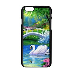 Swan Bird Spring Flowers Trees Lake Pond Landscape Original Aceo Painting Art Apple Iphone 6/6s Black Enamel Case