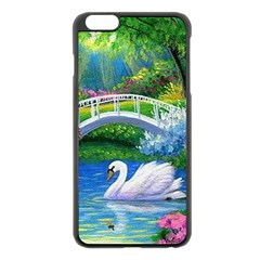 Swan Bird Spring Flowers Trees Lake Pond Landscape Original Aceo Painting Art Apple Iphone 6 Plus/6s Plus Black Enamel Case