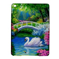 Swan Bird Spring Flowers Trees Lake Pond Landscape Original Aceo Painting Art Ipad Air 2 Hardshell Cases