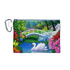 Swan Bird Spring Flowers Trees Lake Pond Landscape Original Aceo Painting Art Canvas Cosmetic Bag (m)
