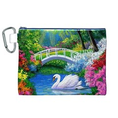 Swan Bird Spring Flowers Trees Lake Pond Landscape Original Aceo Painting Art Canvas Cosmetic Bag (XL)