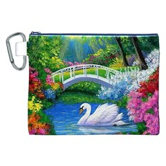 Swan Bird Spring Flowers Trees Lake Pond Landscape Original Aceo Painting Art Canvas Cosmetic Bag (xxl)