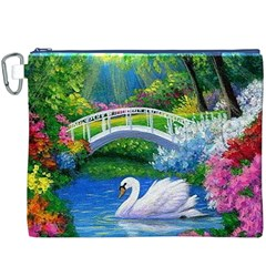 Swan Bird Spring Flowers Trees Lake Pond Landscape Original Aceo Painting Art Canvas Cosmetic Bag (xxxl)