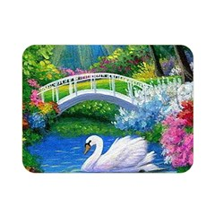 Swan Bird Spring Flowers Trees Lake Pond Landscape Original Aceo Painting Art Double Sided Flano Blanket (mini)