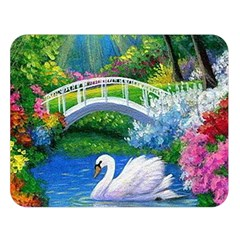 Swan Bird Spring Flowers Trees Lake Pond Landscape Original Aceo Painting Art Double Sided Flano Blanket (large)