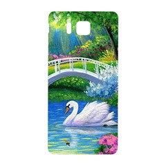 Swan Bird Spring Flowers Trees Lake Pond Landscape Original Aceo Painting Art Samsung Galaxy Alpha Hardshell Back Case