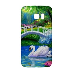 Swan Bird Spring Flowers Trees Lake Pond Landscape Original Aceo Painting Art Galaxy S6 Edge