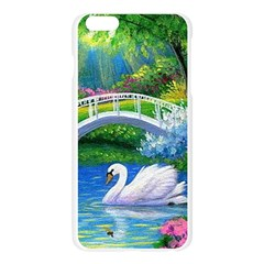 Swan Bird Spring Flowers Trees Lake Pond Landscape Original Aceo Painting Art Apple Seamless iPhone 6 Plus/6S Plus Case (Transparent)