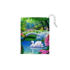 Swan Bird Spring Flowers Trees Lake Pond Landscape Original Aceo Painting Art Drawstring Pouches (XS)