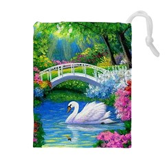Swan Bird Spring Flowers Trees Lake Pond Landscape Original Aceo Painting Art Drawstring Pouches (Extra Large)
