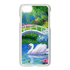 Swan Bird Spring Flowers Trees Lake Pond Landscape Original Aceo Painting Art Apple Iphone 7 Seamless Case (white)