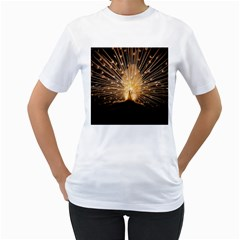 3d Beautiful Peacock Women s T Shirt (white) (two Sided)