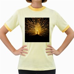 3d Beautiful Peacock Women s Fitted Ringer T Shirts