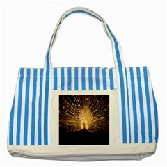 3d Beautiful Peacock Striped Blue Tote Bag