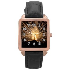 3d Beautiful Peacock Rose Gold Leather Watch