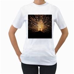 3d Beautiful Peacock Women s T-Shirt (White)