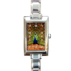 3d Peacock Bird Rectangle Italian Charm Watch