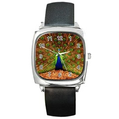 3d Peacock Bird Square Metal Watch