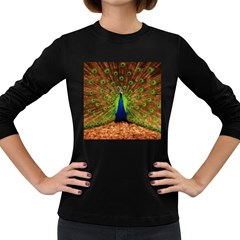 3d Peacock Bird Women s Long Sleeve Dark T Shirts