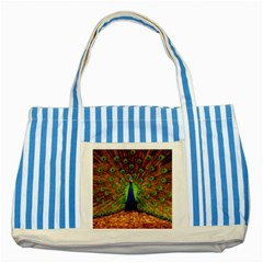 3d Peacock Bird Striped Blue Tote Bag