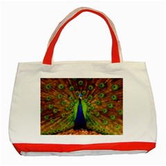 3d Peacock Bird Classic Tote Bag (Red)