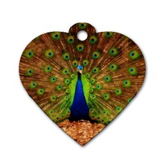 3d Peacock Bird Dog Tag Heart (Two Sides)