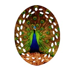 3d Peacock Bird Oval Filigree Ornament (Two Sides)