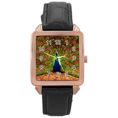 3d Peacock Bird Rose Gold Leather Watch
