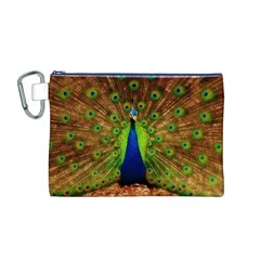 3d Peacock Bird Canvas Cosmetic Bag (M)