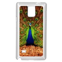 3d Peacock Bird Samsung Galaxy Note 4 Case (White)