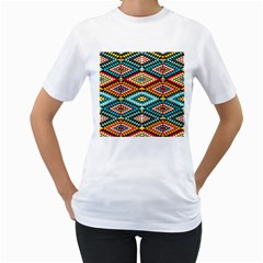 African Tribal Patterns Women s T Shirt (white) (two Sided)