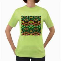 African Tribal Patterns Women s Green T Shirt