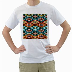 African Tribal Patterns Men s T Shirt (white) (two Sided)