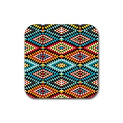 African Tribal Patterns Rubber Square Coaster (4 Pack)