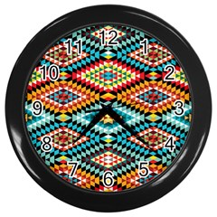 African Tribal Patterns Wall Clocks (black)