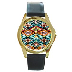 African Tribal Patterns Round Gold Metal Watch