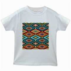 African Tribal Patterns Kids White T-Shirts