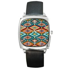 African Tribal Patterns Square Metal Watch