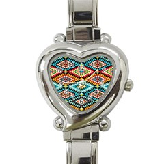 African Tribal Patterns Heart Italian Charm Watch