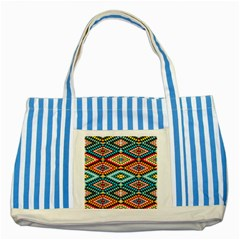 African Tribal Patterns Striped Blue Tote Bag