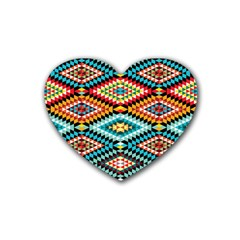 African Tribal Patterns Rubber Coaster (heart)