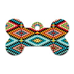 African Tribal Patterns Dog Tag Bone (two Sides)