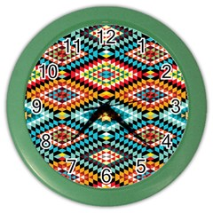 African Tribal Patterns Color Wall Clocks