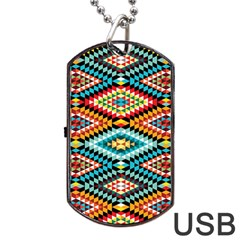 African Tribal Patterns Dog Tag Usb Flash (one Side)