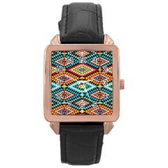 African Tribal Patterns Rose Gold Leather Watch