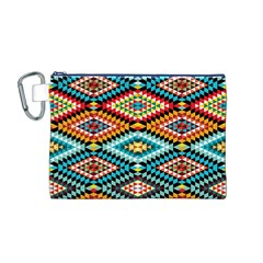 African Tribal Patterns Canvas Cosmetic Bag (m)
